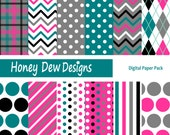 Instant Download - Digital Paper Pack 214 - Teal, Pink and Grey Patterned Paper