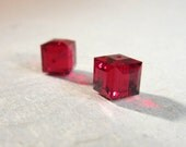 Swarovski Crystal 5601 Faceted Cube Bead 8mm Siam - 2 BEADS
