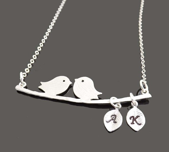 Personalized Two Bird Love Necklace with STERLING SILVER CHAIN - Mother's day, bridesmaids,wife, girlfriend, friendship, Mother's Day gifts