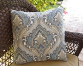 OUTDOOR Pillow Cover in a Blue and Tan Ikat Print