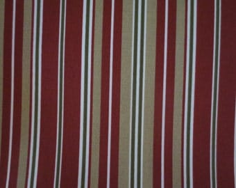 Outdoor Pillow Cover / Cranberry Red and Gold Stripe Print /Red Pillow Cover