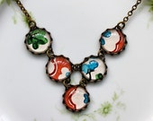 Vintage Wallpaper Bib Necklace - Red, White, Blue, Green