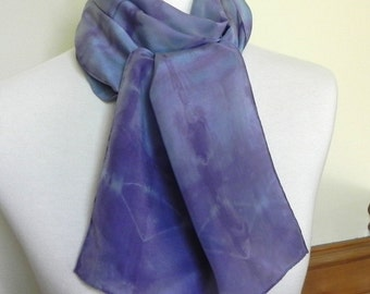 Long Tie-Dyed Silk Scarf Hand Dyed Blue and Purple Geometric,silk scarf #434, Ready to Ship