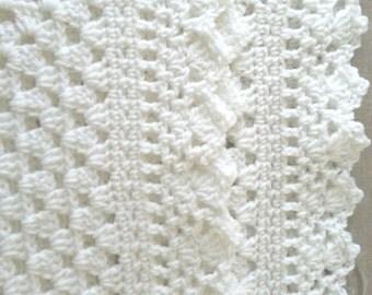 White crochet christening baptism baby blanket with fancy edge