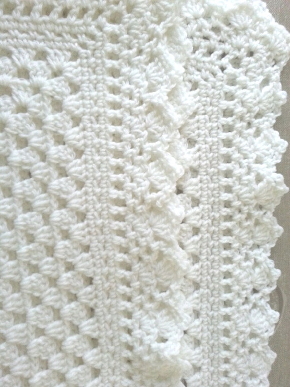 Free Crochet Patterns Christening Blankets : White crochet christening baptism baby blanket with fancy edge
