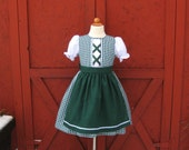 Girl's Swiss Alpine Spring Dress Green Gingham Folk Festival Costume Size 4 4T 5 6 7 8 with Apron Outfit Children's Boutique Clothing