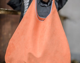 orange PLUS - shoulder hobo bag, intensely colored tote bag