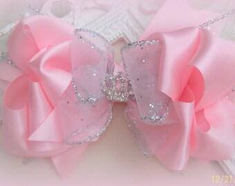 Pink Princess Hair Bow....Flower Girl  Hair Bow...Pink Satin Hair Bow...Girls Hair Bow...Toddler Hair Bow...Infant Hair Bow...Photo Prop