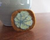 SALE- Felt Brooch, Wearable Art, Needle Felted Lily Pad, Botanical Felt Brooch, Botanical Brooch, Lily Pad Brooch, Arts and Crafts Brooch