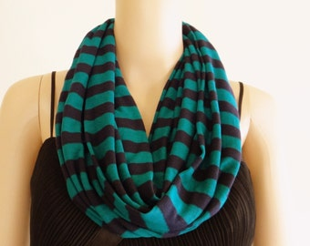 Stripe Circle Scarf.Infinity Scarf.Soft Cotton Scarf