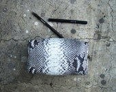 BASIC - Natural Pattern Python Snakeskin Leather Make Up Pouch