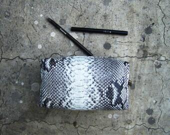BASIC - Natural Pattern Python Snakeskin Leather Make Up Pouch