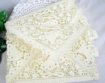 Ivory Lace Doily Lace Envelopes SQUARE Wedding Invitaion Vintage Handmade, Ivory Cream Shabby Chic SQUARE 6.25