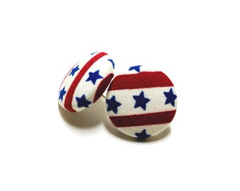 Small Patriotic Stars and Stripes Print Button Earrings