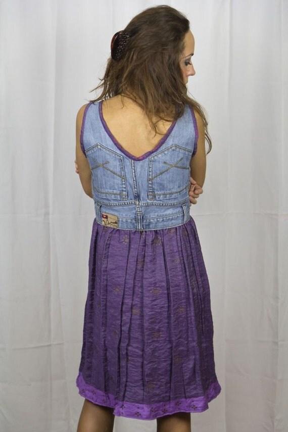 Upcycled Denim OOAK Sundress Silk Sari Unique Boho Handcrafted Radiant Orchid Purple