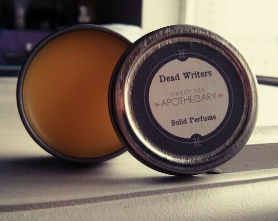 Dead Writers Solid Perfume Tin - Black Tea, Heliotrope, Musk, Clove, Tobacco, Vanilla