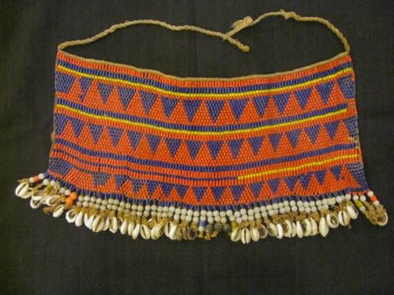 Vintage Geometric African Beaded Kirdi Loincloth From