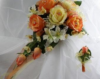 Coral orange yellow cascading bridal bouquet, Real touch wedding bouquet, Coral Orange yellow wedding roses bouquet, Bouquet boutonniere
