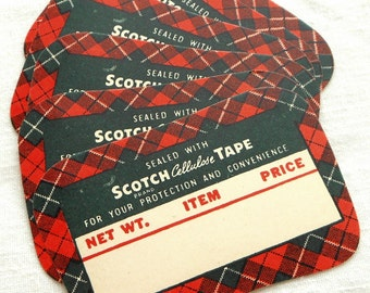 Vintage Labels in Sets of 6 and 12 - Antique Scotch Cellulose Tape Price Tags - Old Mid-Century Red and Green Plaid Labels - Paper Ephemera