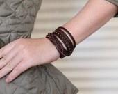 Genuine Leather Braid Wrap Cuff Bracelet Braided Studded Stranded. Beautiful Leather Bracelet Cuff with Adjustable Stud Handmade B016-RND