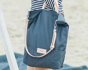 Gray, cotton tote handbag SEAL / natural leather handles and strap