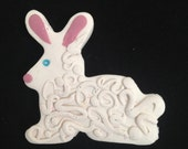 CLOSEOUT SALE! - Curlicue Easter Bunny Brooch on Sale - Polymer Clay Pin White Rabbit for Spring