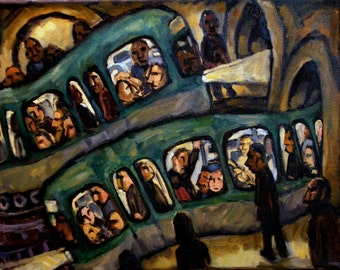 Original Oil Painting, Arvo in the Metro. Oil on Canvas, 11x14 Industrial Urban Subway Painting, Modern Fine Art, Signed Original