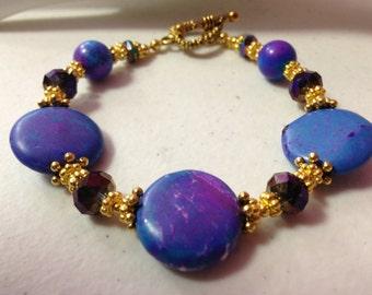 "6"" Blue-Purple Howlite & Crystal Bracelet"