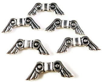 Silver Wing Beads 16x5mm Antique Silver Tone Metal Angel Wing Spacer Beads for Jewellery (Jewelry) Making 24 Loose Beads per Pack