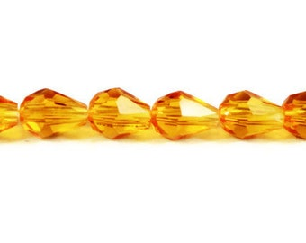 Orange Teardrop Crystal Beads 6x4mm Faceted Small Light Orange Chinese Crystal Glass Tear Drop Beads 33 Loose Beads per Pack