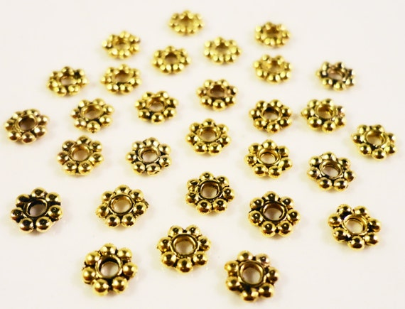 Gold Spacer Beads 4mm Gold Tone Metal Small Flat Daisy Spacer Beads 150 Loose Beads per Pack