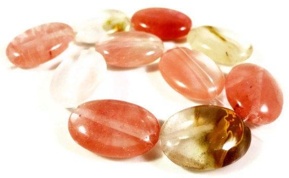 Tourmaline Quartz Gemstone Beads 17x12mm Flat Oval Watermelon Tourmaline Quartz Semiprecious Stone Beads on a 7 Inch Strand with 10 Beads