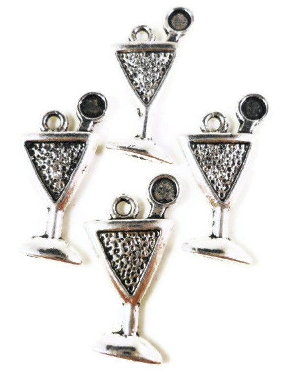 Silver Martini Charms 21x10mm Antique Silver Martini Glass Charms, Metal Charms, Cocktail Charms, Martini Pendants, Drink Charms, 10pcs