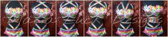 two-pieces rainbow colors sexy dance costume with feathers