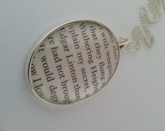 Wuthering Heights Book Page Necklace