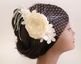 Birdcage Bandeau Veil, Ivory Flower Birdcage Veil and Fascinator, Wedding Head Piece, Wedding Accessories, Ostrich Feathers,