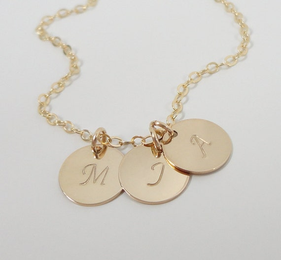 Gold Filled Initial Necklace - Mommy Necklace - Three Initials - Gold-Filled Personalized Hand Stamped Jewelry - Celebrity Style