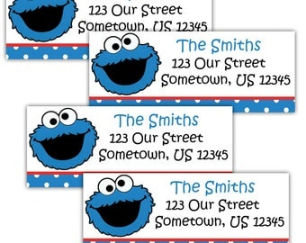 Cookie Monster Sesame Street- Personalized Address labels, Stickers