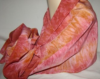 """Stone Wash Crepe De Chine 16.5mm silk scarf 15""""x60""""  Shibori style dyed in colors of Burgundy and Amber"""