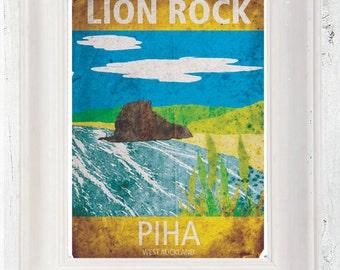 Vintage Style Piha Beach New Zealand Poster A3