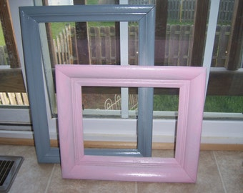 Shabby Chic Pink and Gray Picture Frames Upcycled Cottage Style
