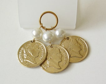 Vintage faux coins and pearls
