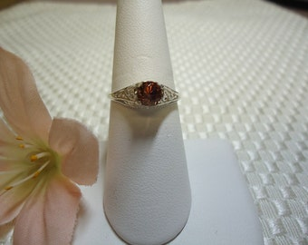 Round Imperial Zircon Antique Style Ring in Sterling Silver