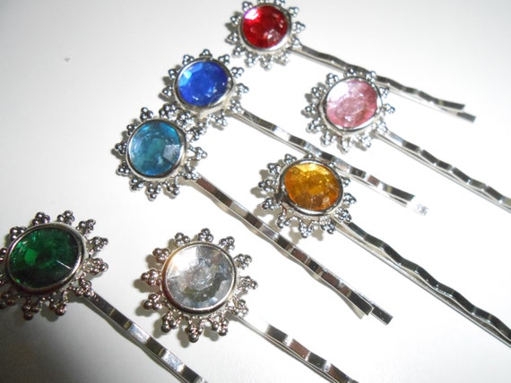 HAIR ACCESSORIES - 7 Vibrant Bling Rhinestone Pins For Your Hair