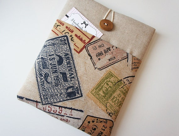 Kindle Fire HD 8.9'' -Nook HD Plus- Nexus 10 - iPad Case, iPad Sleeve, Padded , World Map Print and Handmade Wood Button