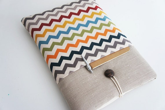 Chevron 13 inch Macbook Air-Pro, Custom Size for Your 13'' Laptop - Laptop Cover, Padded Sleeve Case - Unique Handmade Wood But