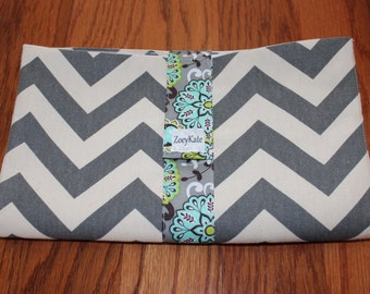 Gray Chevron Wipe and Fold Diaper Clutch and Changing pad Christmas Gift for New Moms