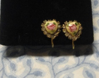 Vintage heart with rhinestones guilloche earrings*