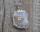 Sunshower - Sterling Silver Druzy Stalactite Round Amethyst Crystal Edged Boho Necklace