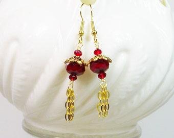 Red Crystal Earrings, Red Crystal Chain Earrings, Crystal Earrings